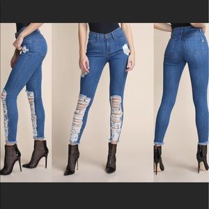 High-Waisted Ripped Up Skinny Jeans